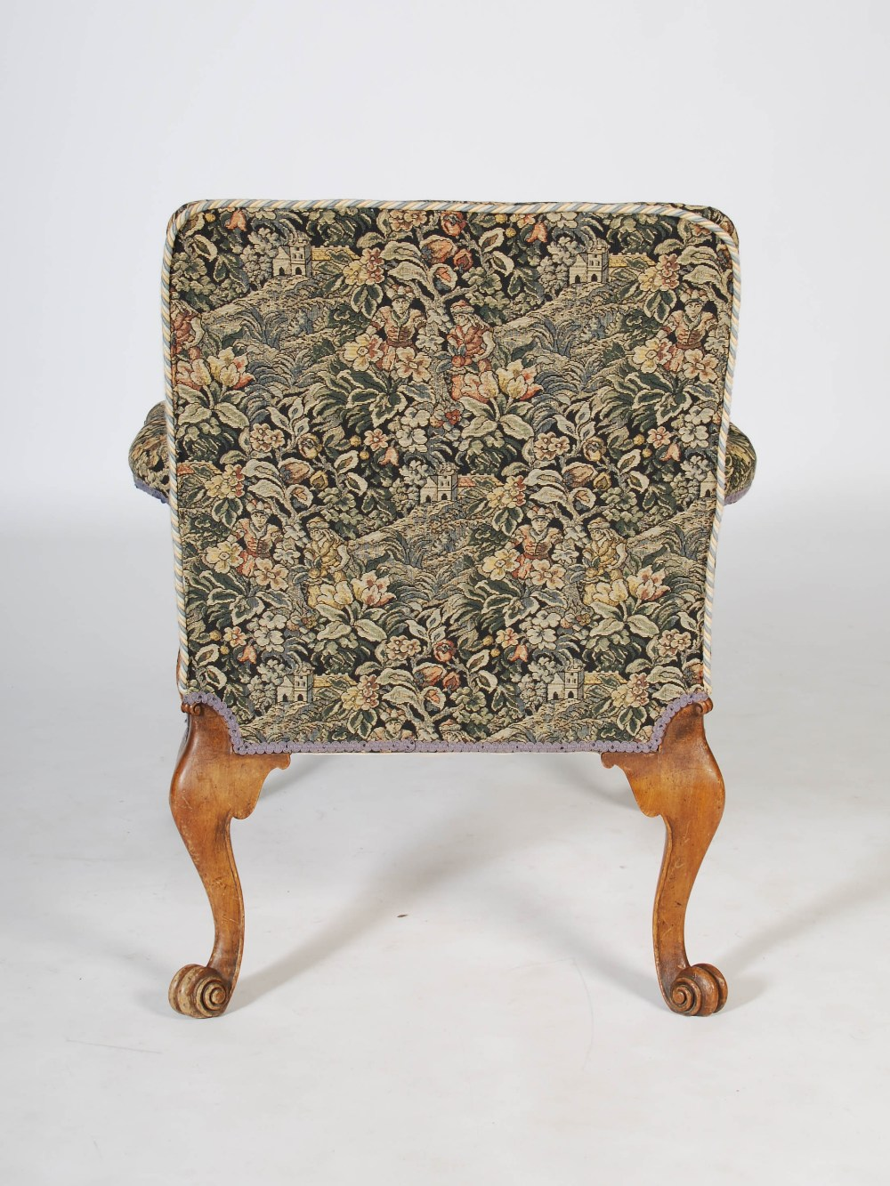 Lot 57 - A late 19th century mahogany George II style Gainsborough armchair, the needlework upholstered back,