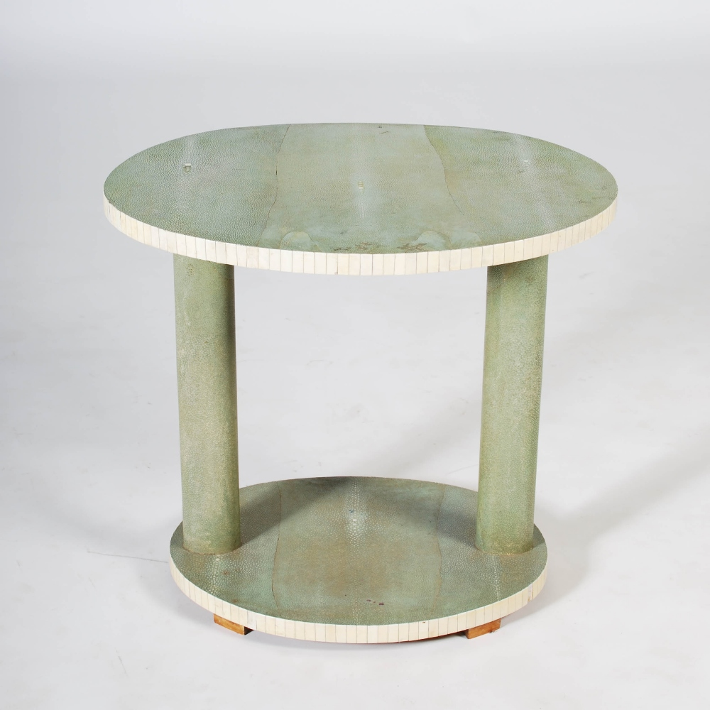Lot 49 - An early 20th century Art Deco shagreen and ivory occasional table, the oval top raised on two