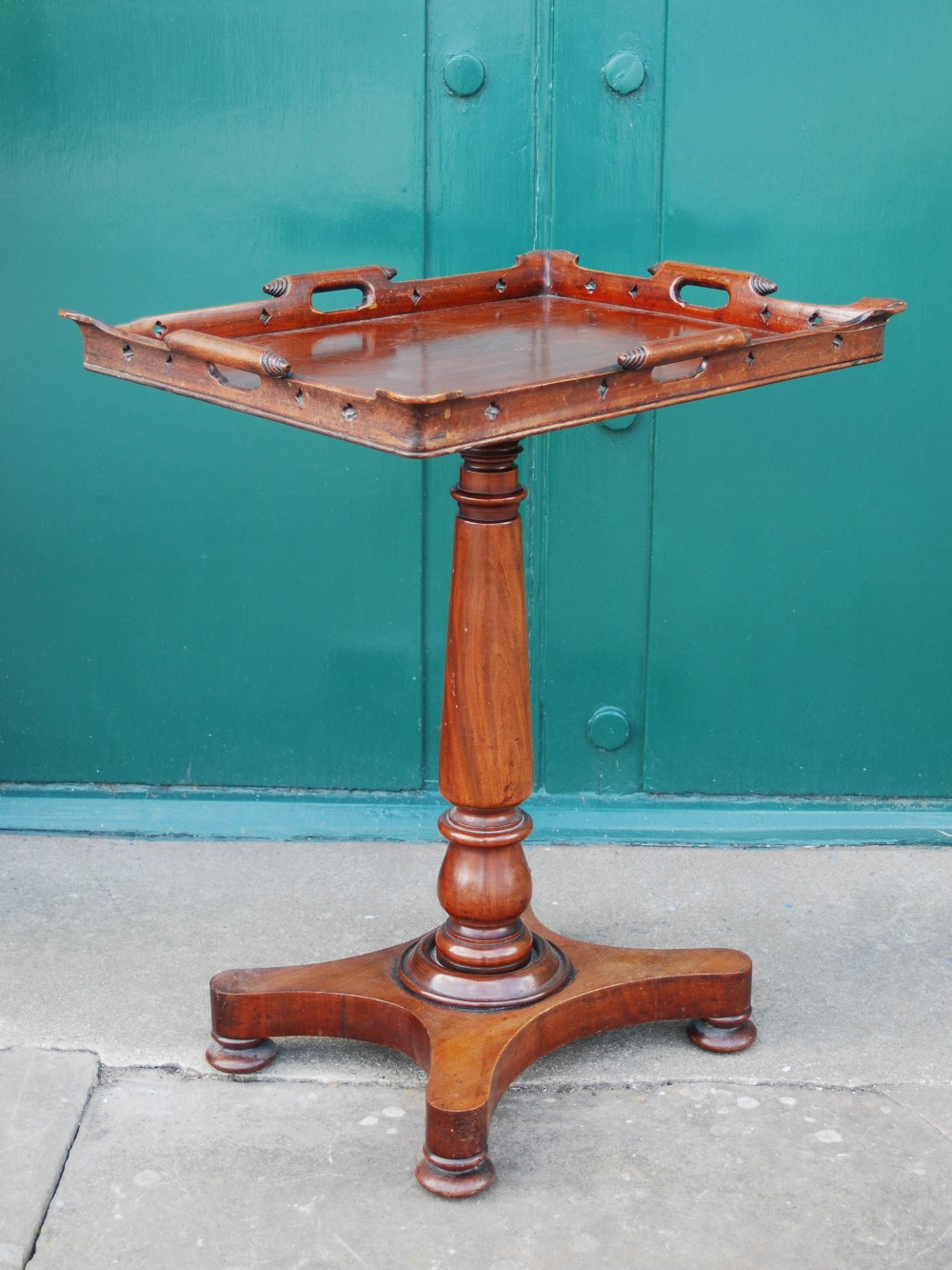 Lot 11C - A 19th century mahogany tray top occasional table, the rectangular tray top with a pierced gallery