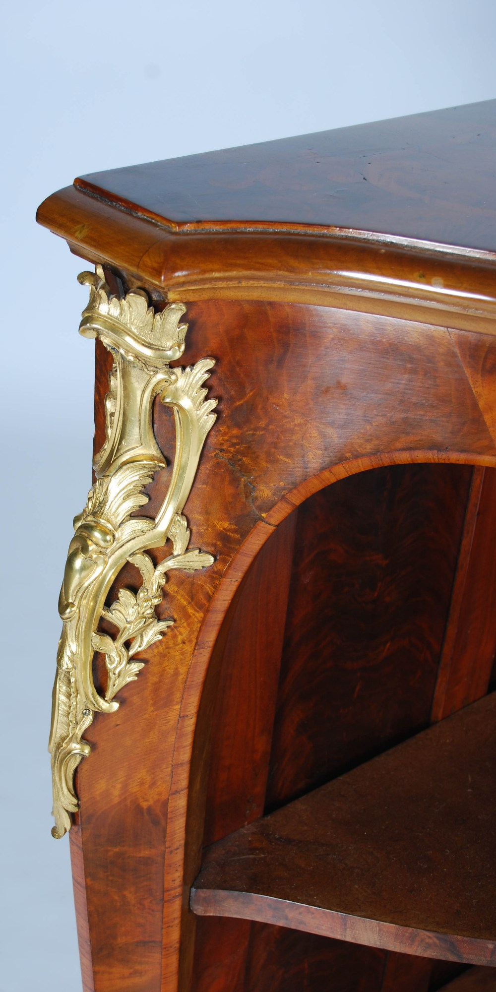 Lot 98 - A French mahogany, marquetry and gilt metal mounted open bookcase in the Louis XV style, the