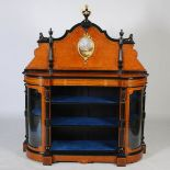 Lot 73 - A Victorian amboyna, walnut, boxwood lined, ebony and gilt metal mounted credenza, the upright