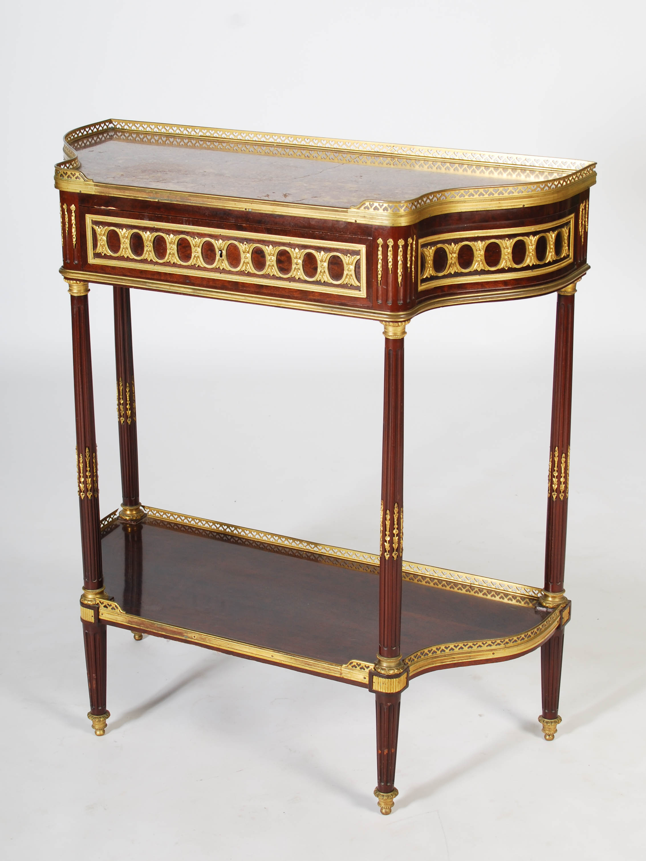 Lot 85 - A late 19th century French mahogany and gilt metal mounted Louis XVI style console table, the