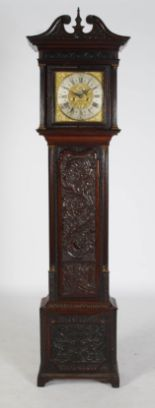 Lot 8 - An oak long case clock, J. Hadruen, Kendal, the brass dial with silvered chapter ring bearing Arabic