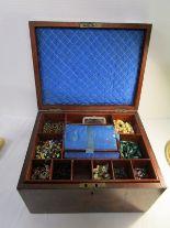 Lot 200 - 19C walnut inlaid jewellery box & contents