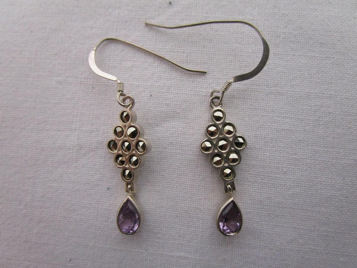 Lot 8 - Pair of silver marcasite & amethyst drop set earrings