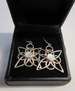 Lot 17 - Pair of silver & mother-of-pearl drop earrings