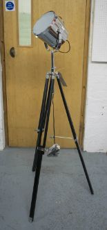 Lot 240 - STUDIO LAMP, in chromed metal on extendable tripod supports, 160cm H.