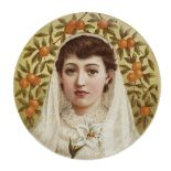 Lot 15 - MANNER OF W.S. COLEMAN AESTHETIC MOVEMENT CERAMIC WALL PLAQUE, CIRCA 1890 painted with a head and