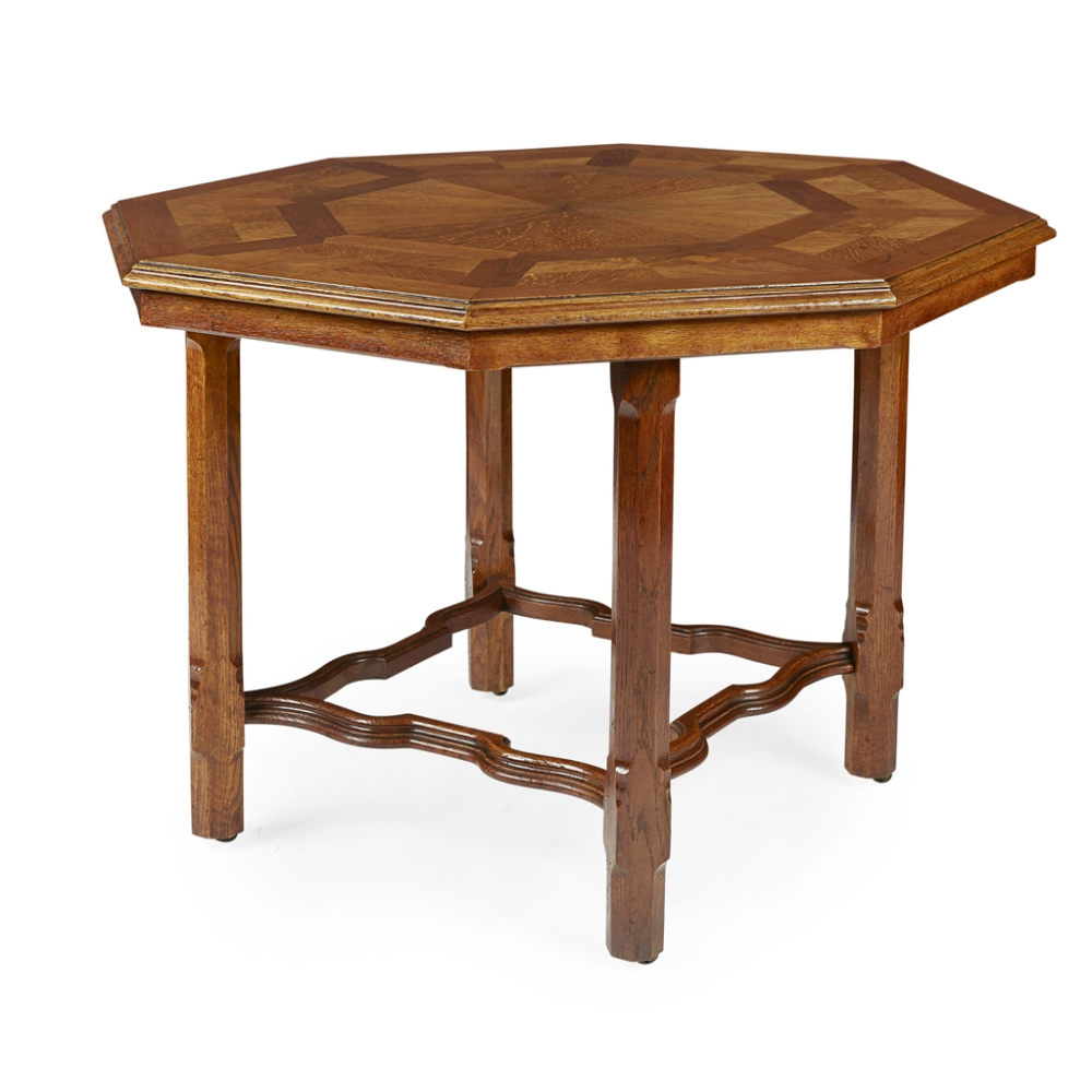 Lot 16 - HOWARD & SONS, LONDON ARTS & CRAFTS OAK PARQUETRY CENTRE TABLE, CIRCA 1880 the octagonal top,