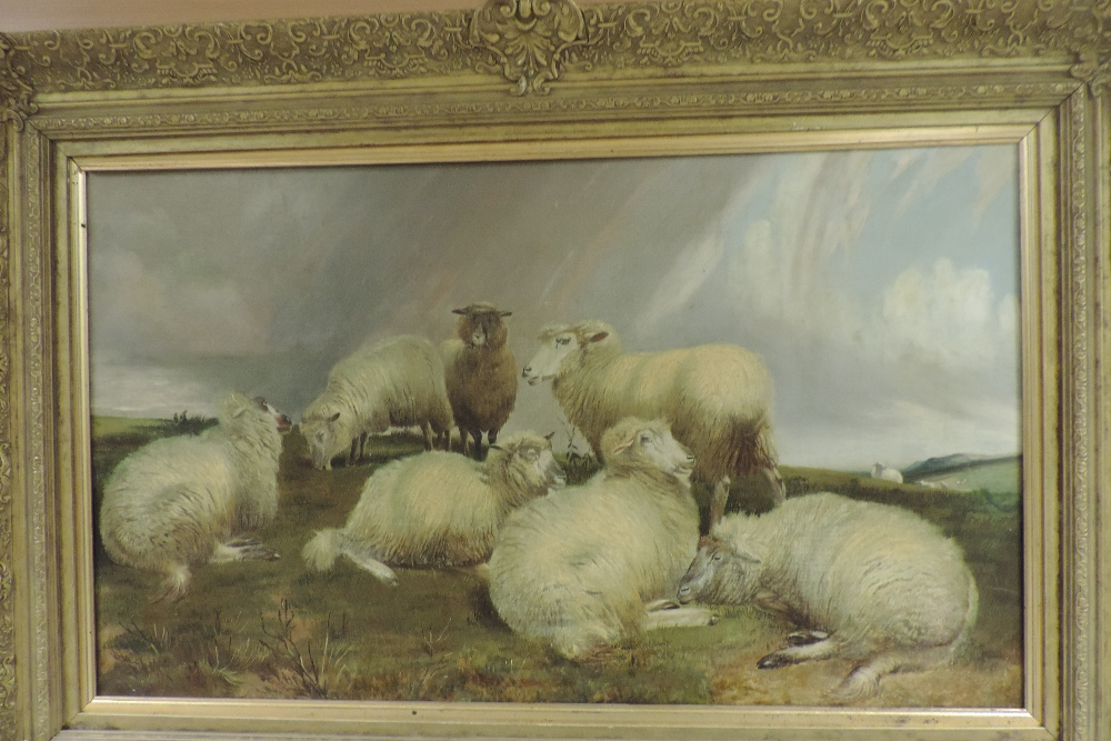Charles Jones, RCA, (1836-1892), landscape with sheep, oil on canvas, - Image 3 of 6