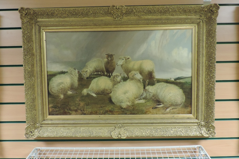 Charles Jones, RCA, (1836-1892), landscape with sheep, oil on canvas, - Image 5 of 6