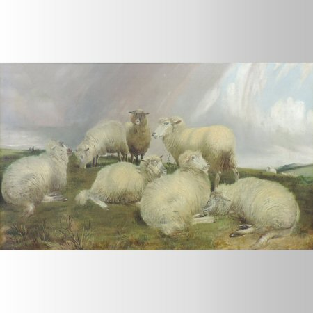 Charles Jones, RCA, (1836-1892), landscape with sheep, oil on canvas,