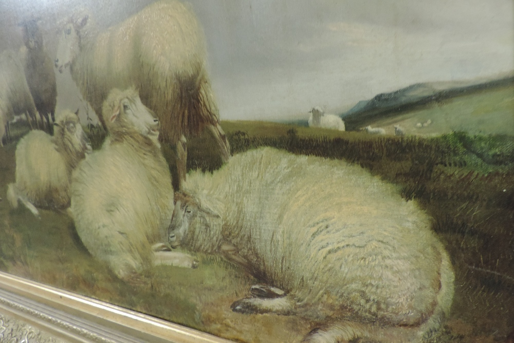 Charles Jones, RCA, (1836-1892), landscape with sheep, oil on canvas, - Image 4 of 6