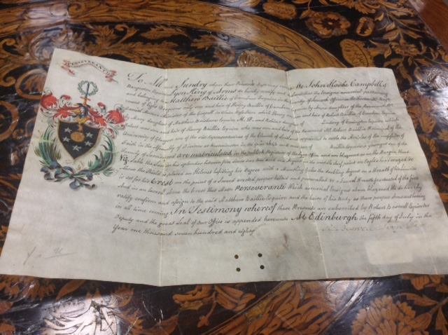 Lot 1259 - LATE 18TH CENTURY GRANT OF ARMS Letter of Patent from John Hooke Campbell of Bangeston,