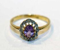 14 k Gelbgold Ring mit Amethyst, Gr. 60, 2,3 gr.