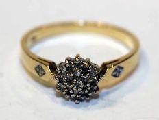 14 k Gelbgold Ring mit in Weißgold gefaßten Diamanten, Gr. 57, 2,9 gr., passend zu Lot 11