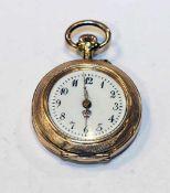 14 k Gelbgold Damen Taschenuhr in fein graviertem Gehäuse, intakt, D 3 cm