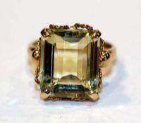 18 k Gelbgold Ring mit Citrin, Gr. 62, 6,7 gr., feine Handarbeit