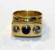 14 k Gelbgold Ring mit 2 Diamanten und 1 Safir, Gr. 53, 10,6 gr.