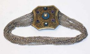 Kropfkette, Silber, filigrane Schließe, vergoldet und mit Glassteinen besetzt, 9-reihige Ketten, L