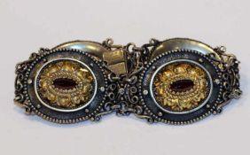 Silber Trachten Armband, teils vergoldet und mit Granaten, L 18 cm, 49 gr.