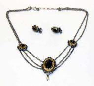 Silber Trachten-Collierkette, teils vergoldet mit 3 Granaten, L 42 cm, und Paar passende Ohrstecker