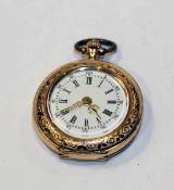 14 k Gelbgold Damen Taschenuhr mit fein graviertem, teils emailiertem Gehäuse, intakt, D 2,8 cm