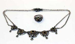 Silber Trachtencollier, teils vergoldet mit Granaten und Perlen, L 38 cm, 34 cm und Silber
