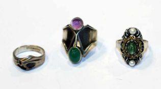 3 Silber Ringe, 2 davon mit Farbsteinen, Gr. 53/54