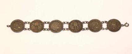Silber Armband aus 6 österreichischen Kronen, L 18 cm