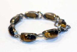 Silber Armband mit 7 ovalen Tigeraugen, L 17 cm