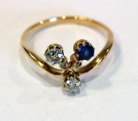 14 k Gelbgold Ring 4 Diamanten und 1 Safir, ältere Handarbeit, Gr. 53
