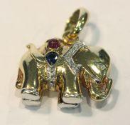 14 k Gelb- und Weißgold Anhänger in Form eines Elefanten mit in Weißgold gefaßten Diamanten,