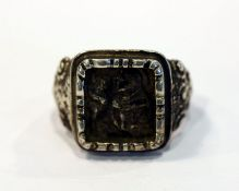 Antoni Ring, Silber Ring mit reliefiertem Dekor 'Heiliger Antonius', Gr. 50, schöne Handarbeit