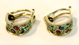 Paar 18 k Gelbgold Ohrstecker/Clips mit Diamanten, Rubinen, Safiren und Smaragden , 7,2 gr.,