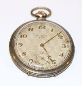 Silber Taschenuhr, Helvetia, um 1930, intakt, Tragespuren, D 5 cm