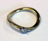 14 k Gelbgold Ring mit Diamant, ca. 0,25 ct., Gr. 53