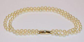 Perlencollier, 2-reihig mit 14 k Gelbgold Schließe, L 34 cm