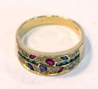 18 k Gelbgold Ring mit Diamanten, Rubinen, Safiren und Smaragden, 4,8 gr., Gr. 57, schöne