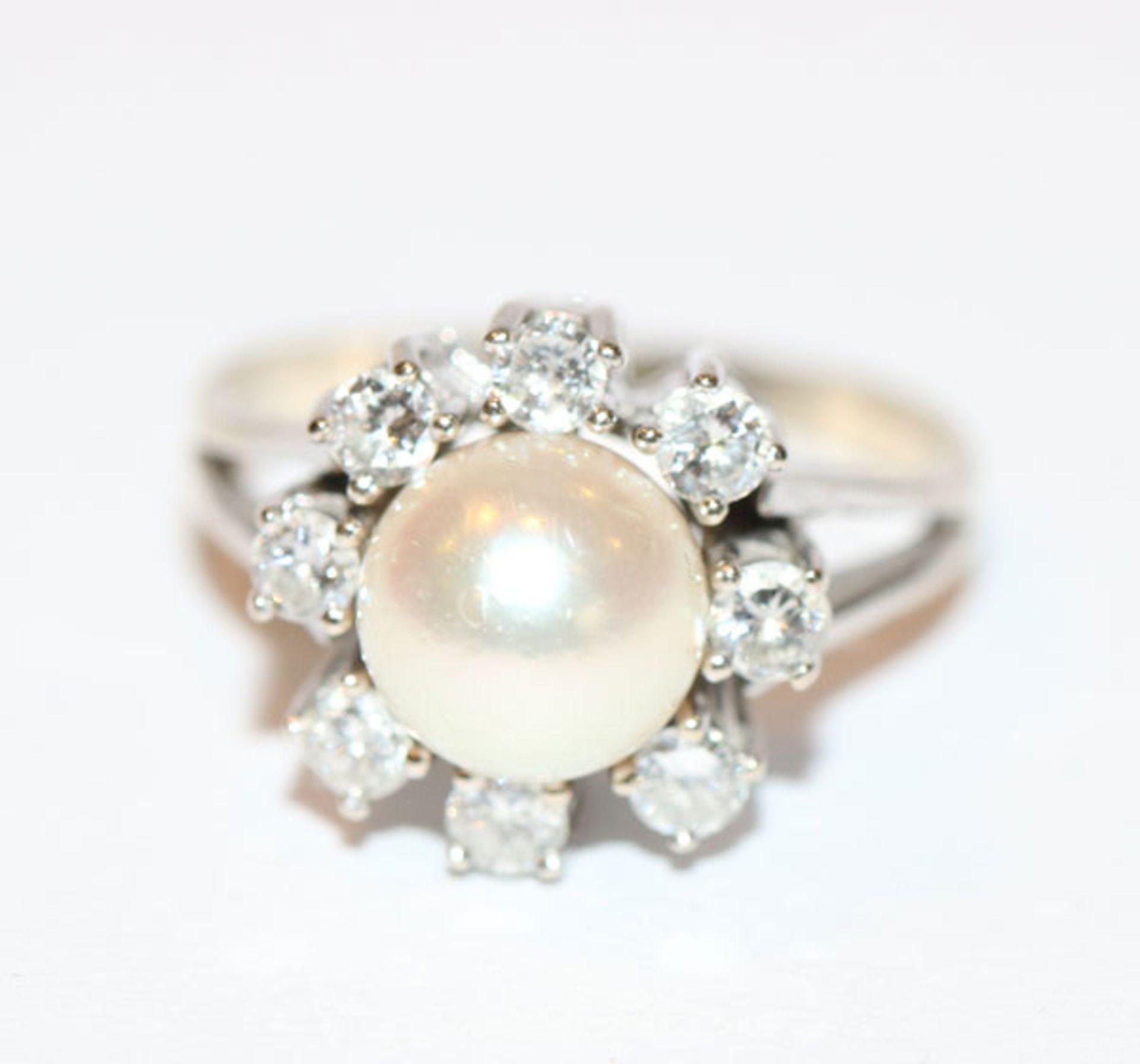 Los 55 - 14 k Weißgold Perlenring mit 8 Diamanten, zus. ca. 0,60 ct., Gr. 53, klassische Handarbeit