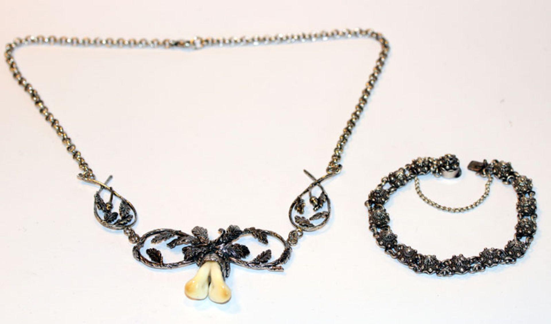 Silber Collierkette mit Grandelpaar, L 46 cm, und Armband, L 16 cm