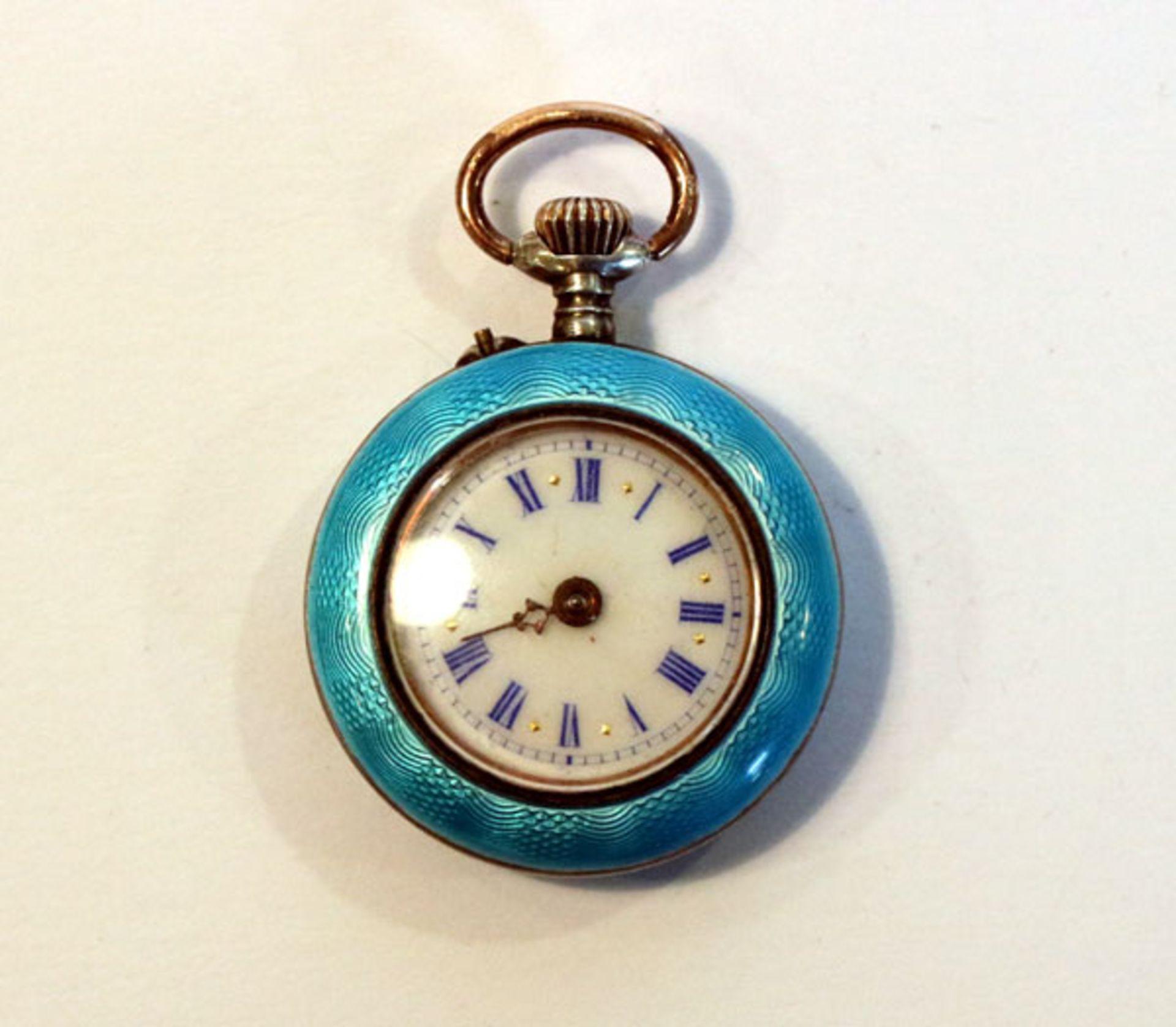 Silber Damen Taschenuhr, Gehäuse türkisblau emailliert, ein Zeiger fehlt, Funktion nicht geprüft,