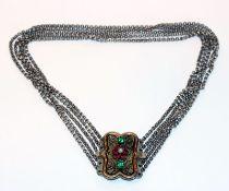 Silber Trachten-Kropfkette, 835 Silber, filigrane Schließe teils vergoldet und mit Glassteinen