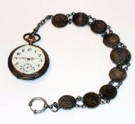 Silber Taschenuhr, intakt, an Uhrenkette aus 1/2 und 1 Mark Reichsmünzen, L 29 cm, Tragespuren