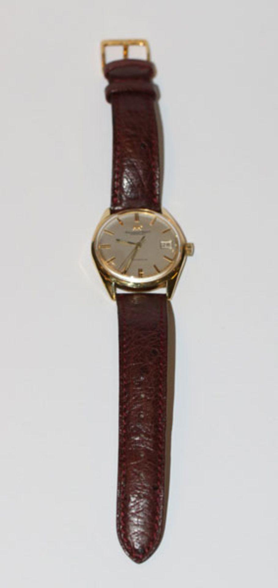 Los 29 - IWC Schaffhausen Automatic, Herren Armbanduhr, 18 k Gelbgold Gehäuse, Datumsanzeige, an braunem