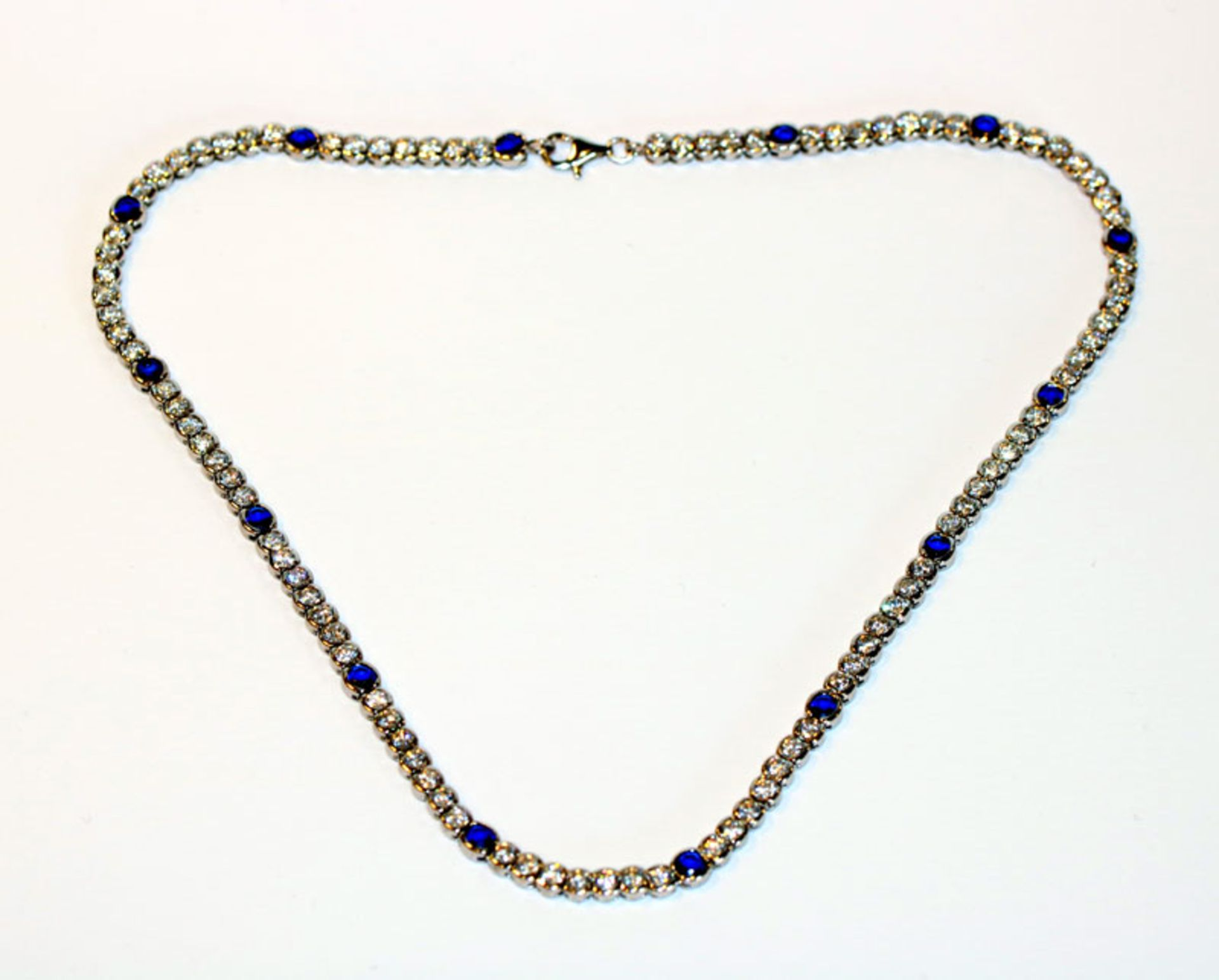 Sterlingsilber Collierkette mit Glassteinen, L 42 cm