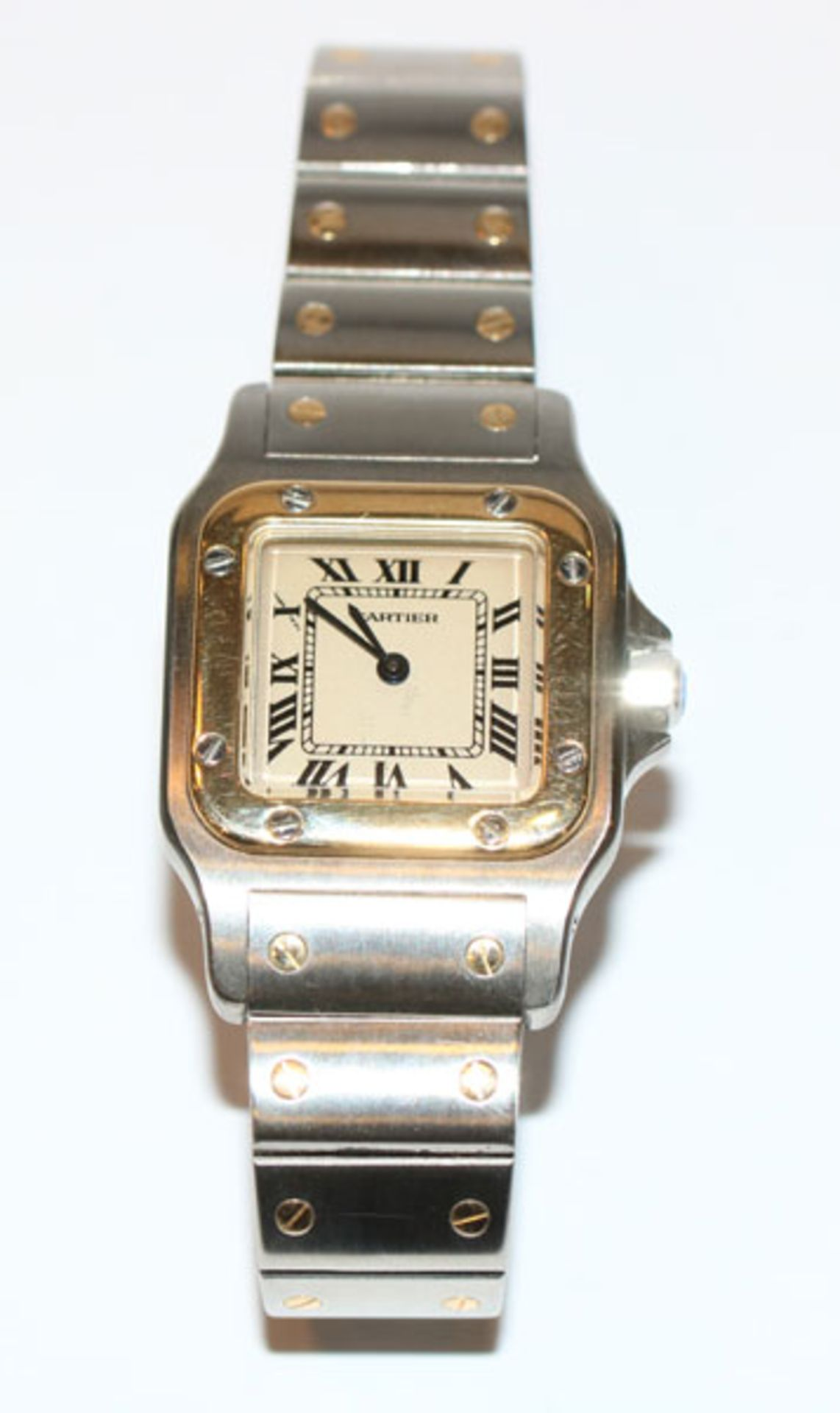 Cartier Damen-Armbanduhr, Santos Carrée, Edelstahl/Gelbgold, intakt, ohne Papiere, Tragespuren,