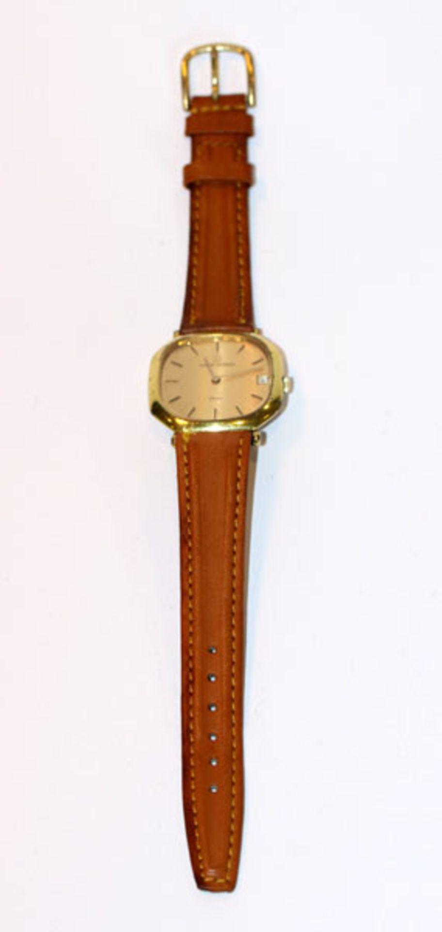 Los 20 - Michel Herbelin, Paris, Armbanduhr, mechanisches Werk, intakt, an braunem Armband, Tragespuren