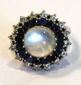 14 k Weißgold Ring mit Mondstein, Diamantkranz mit 16 Diamanten und Safirkranz, klassische