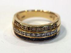 14 k Gelbgold Ring mit Diamanten und Safiren, klassische Handarbeit, Gr. 56